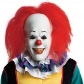 Official Adult's Pennywise Deluxe Mask with Hair Clown, IT The Mo