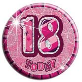 18th Birthday Badge Glitz Pink Party Accessory