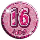 16th Birthday Badge Glitz Pink Party Accessory