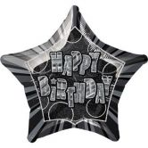 20 Inch Happy Birthday Birthday Glitz Black Foil flat