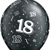 18-A-Round Black & Silver helium filled latex balloon