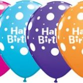 Birthday Big Polka Dots helium filled latex balloon
