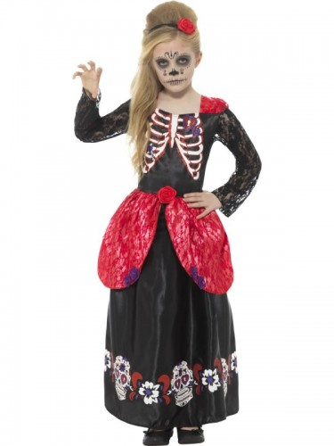 Deluxe Day of the Dead Girl Child Costume  (Example Photo)