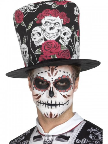 Day of the Dead Skull & Rose Top Hat (Example Photo)