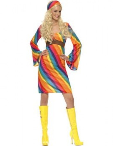 Rainbow Hippie Lady Adult Costume (Example Photo)