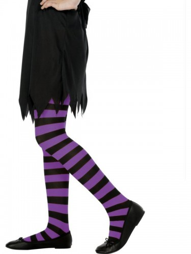 Child Striped Tights Purple and Black  (Example Photo)