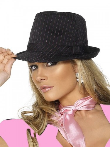 Gangster Hat Black with Pink Pinstripe (Example Photo)