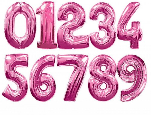 34 Inch Pink Foil Number Balloons 0 - 9 (Example Photo)