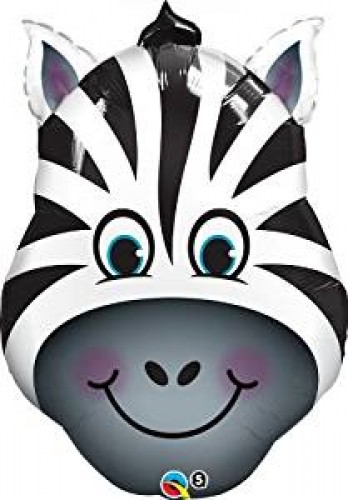 Happium - Zebra 32 inch Large Foil Balloon - Jungle Animals Party (Example Photo)