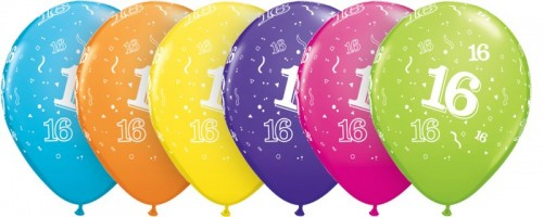 16-A-Round helium filled latex balloon (Example Photo)