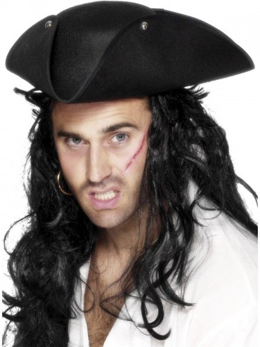 Pirate Tricorn Hat Brown (Example Photo)