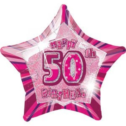 50th Birthday Glitz Pink 20 inch Star Foil Balloon  (Example Photo)