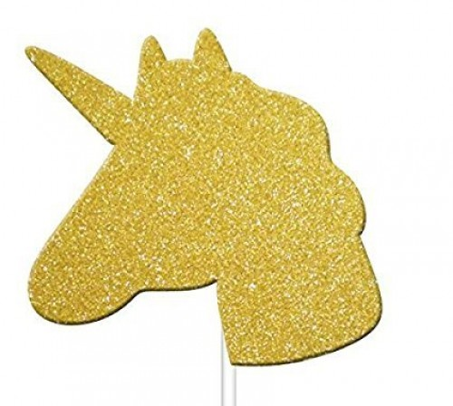 Gold Glitter Unicorn Cupcake Toppers (Example Photo)