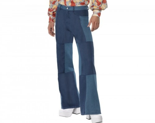 Mens Patchwork Flares, Denim Look (Example Photo)