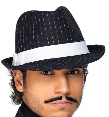 Trilby Hat Black with White Pin Stripes. FANCY DRESS ... fac7d15a2749