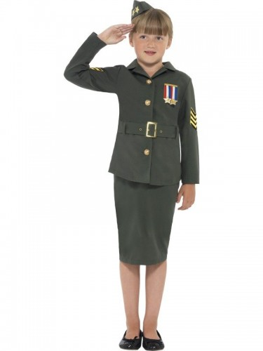 WW2 Army Girl Costume, Child (Example Photo)