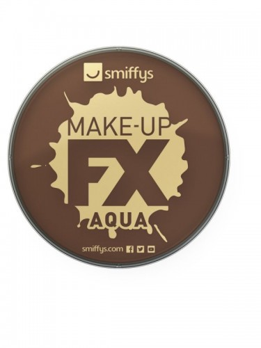 Smiffy's Make-Up Fx, Aqua Face and Body Paint, Dark Brown (Example Photo)