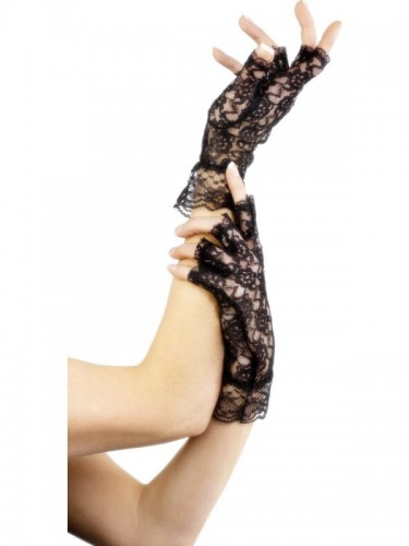 Fingerless Gloves Black Lace (Example Photo)