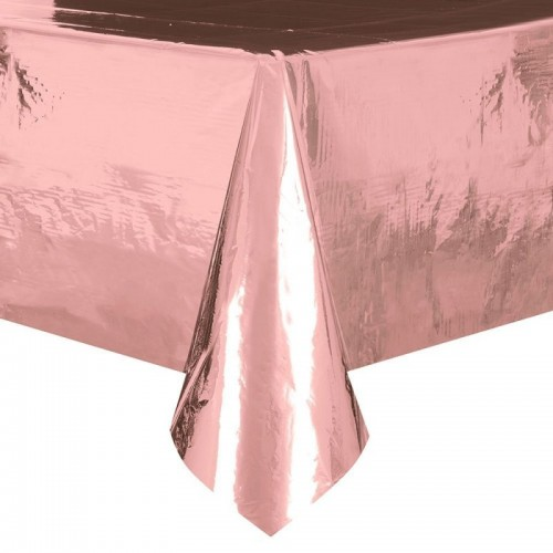 Foil Plastic Tablecloth, 9ft x 4.5ft, Rose Gold (Example Photo)