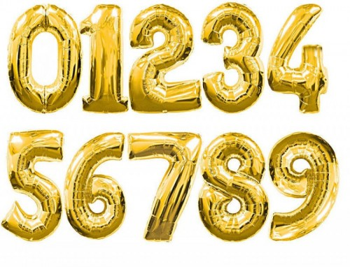 34 Inch Gold Foil Number Balloons 0 - 9 (Example Photo)