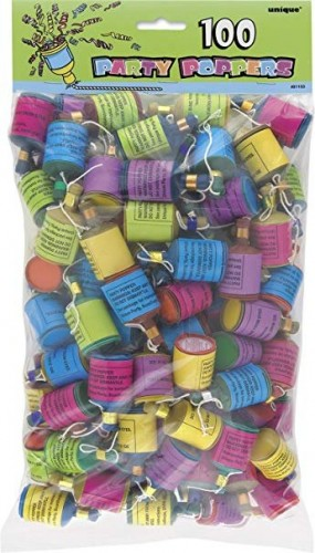 Party Poppers, Pack of 100  (Example Photo)