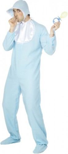 Baby Blue Romper Suit Fleece with Bonnet Adult Costume (Example Photo)