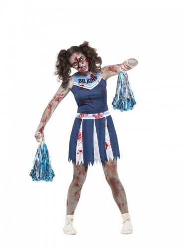 Zombie Cheerleader Blue Teen Girl's Costume  (Example Photo)