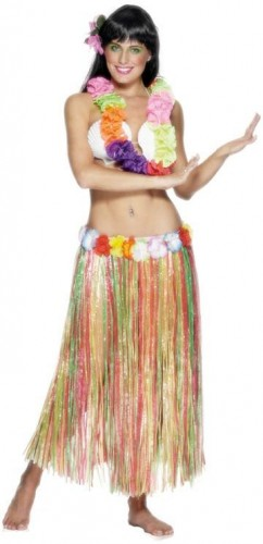 Hula Skirt Multi Coloured with Flowers 79cm (Example Photo)