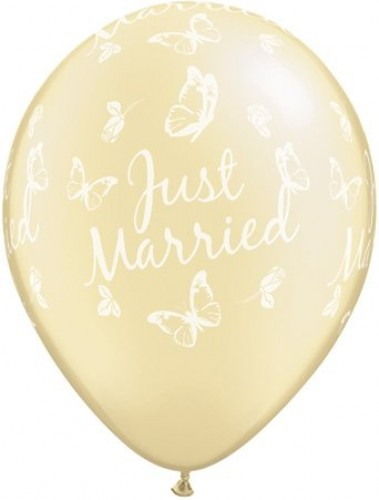 Just Married Butterflies-A-Round Pearl Ivory latex balloon  (Example Photo)