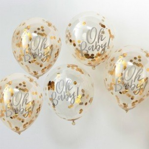 Oh Baby! Gold Party Confetti Balloons (Example Photo)