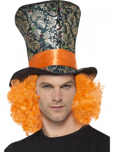 Top Hat, Multi-Coloured, with Attached Hair (Example Photo)