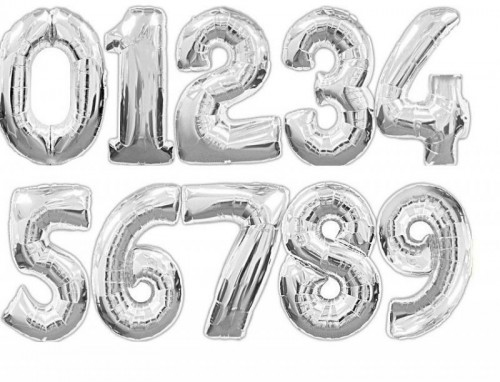 34 Inch Silver Foil Number Balloons 0 - 9 (Example Photo)