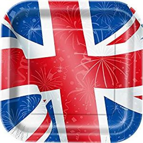 Square Best of British Union Jack Party Plates (Example Photo)