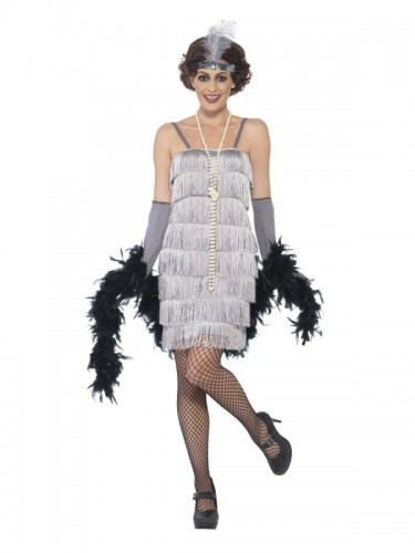 Flapper Costume, Silver, with Short Dress  (Example Photo)