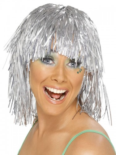 Cyber Tinsel Wig Metallic Silver (Example Photo)