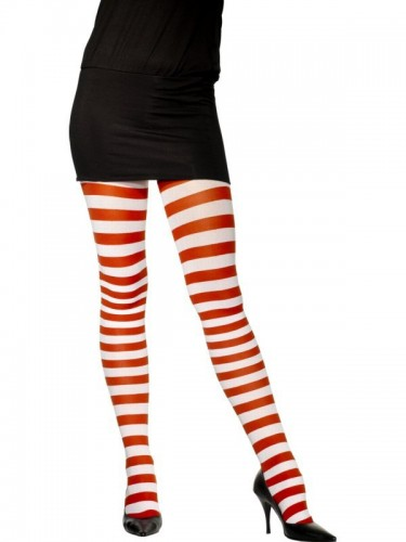 Tights, Red and White, Striped (Example Photo)