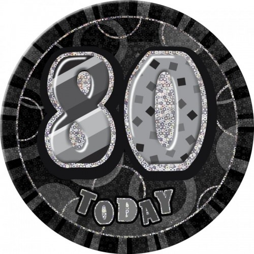 Dazzling Effects 80th Birthday Badge - Black 6 (Example Photo)