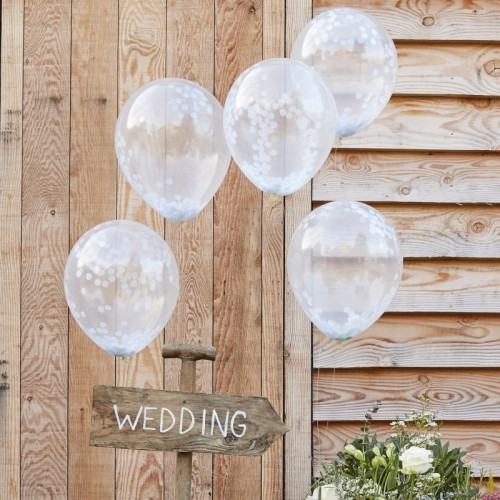 White Confetti Balloons - Rustic Country (Example Photo)
