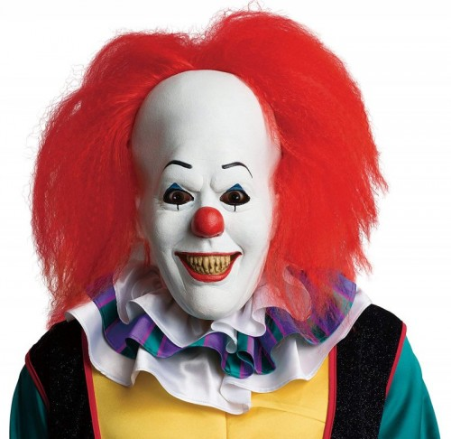 Official Adult's Pennywise Deluxe Mask with Hair Clown, IT  (Example Photo)