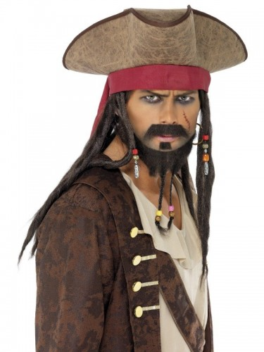 Pirate Hat, Brown, with Hair Dreadlocks (Example Photo)