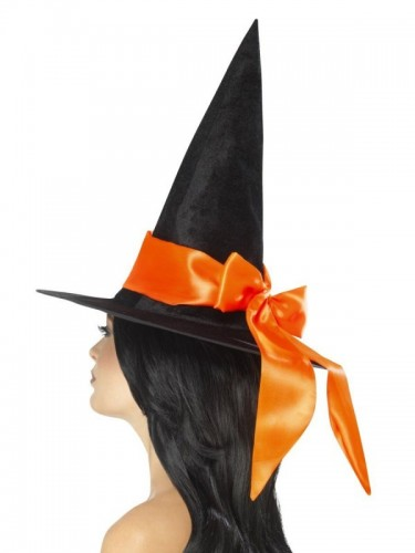 Deluxe Witch Hat, Black, with Orange Bow (Example Photo)