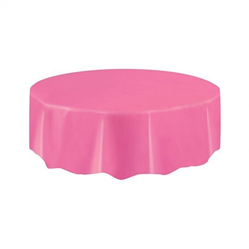 Round Hot Pink Plastic Tablecloth   (Example Photo)