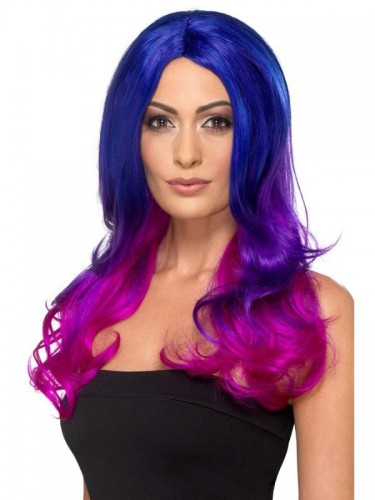 Fashion Ombre Wig, Blue & Pink (Example Photo)