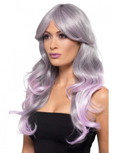 Fashion Ombre Wig, Grey & Pastel Pink (Example Photo)